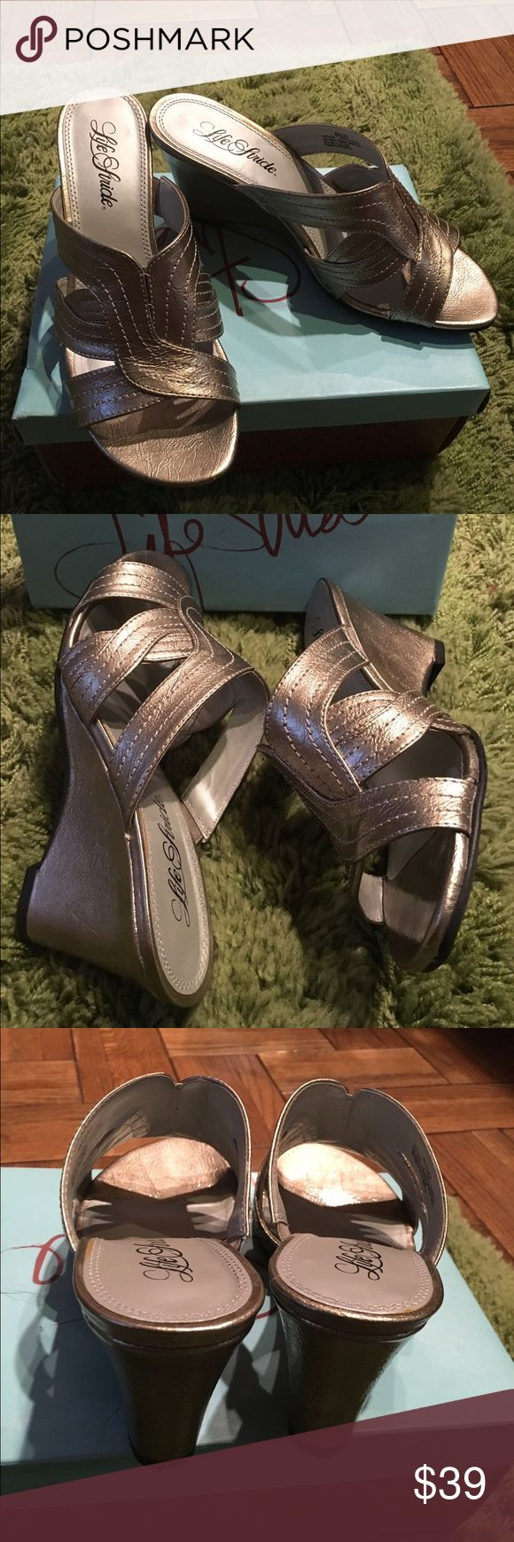 """BRAND New Life Stride Pewter 3"""" wedge sandals New Pewter sandals with strap design across front. Great looking shoe SZ 8.5 W for wider foot. Life Stride Shoes Sandals"""
