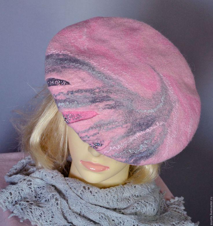 """Купить Берет валяный """"Розовый жемчуг"""" - розовый, абстрактный, берет, головной убор, валяный берет"""