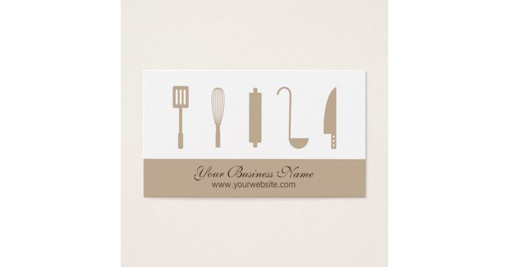 A modern, minimalist business card with the icons of assorted chef cooking utensils commonly found in the kitchen. They include items like spatula, whisk, rolling pin, ladle and knife. Design is suited for businesses in the food and beverage like restaurants, cafes, personal chefs and cooks, bakeries, pastries, dining and catering businesses. Personalise easily with your business details.