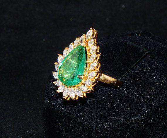 GIA Certified Natural 8.5cts Zambian Emerald VS F G Diamond
