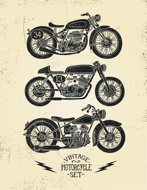 Motorcycle retro posters creative vector graphics 02