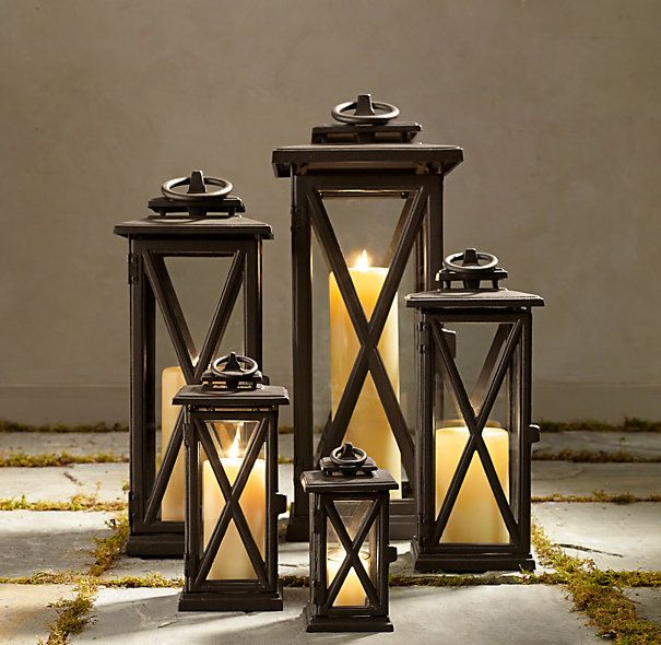 "AVIGNON SQUARE LANTERNS – WEATHERED BRONZE | Small Lantern: 5¾"" sq., 11¼""H; Medium Lantern: 7"" sq., 16""H; Large Lantern: 8¾"" sq., 21¼""H; Extra-Large Lantern: 9"" sq., 27""H;"