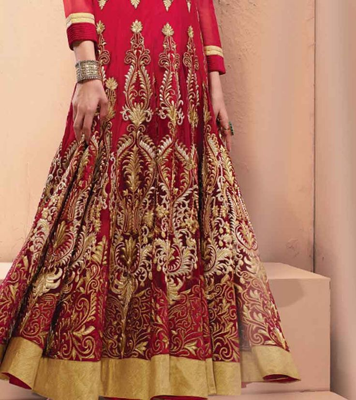 A Traditional Maroon Indian Bridal Anarkali Suit