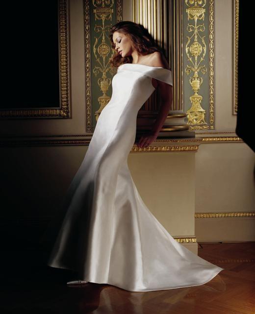 Electra  Elegant silk Zibeline high flare fishtail wedding dress with duchess collar.