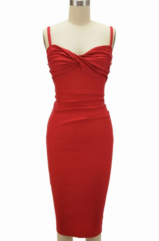 miss betty doll twisted bust wiggle dress - red