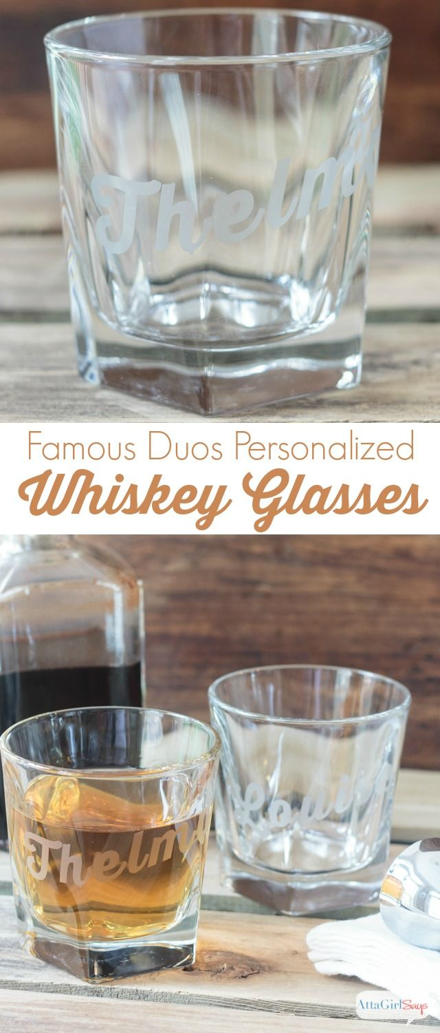 Atta Girl Says | Famous Duos Personalized Whiskey Glasses using DecoArt Easy Etch | #decoartprojects