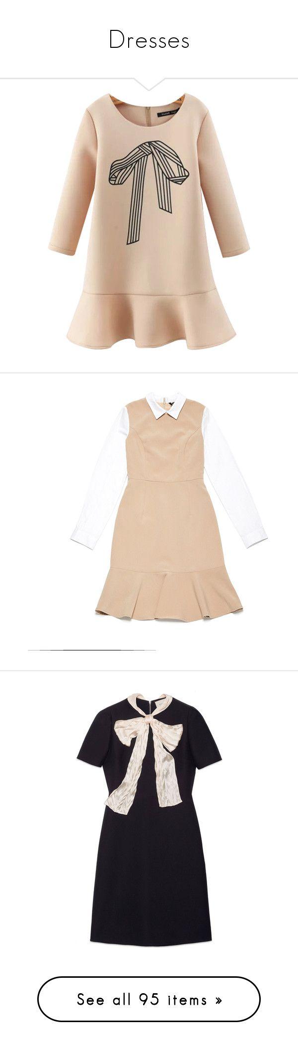 """Dresses"" by joy-fangirl ❤ liked on Polyvore featuring dresses, vestidos, платья, short dresses, beige peplum dress, longsleeve dress, peplum mini dress, beige long sleeve dress, ready-to-wear and women"