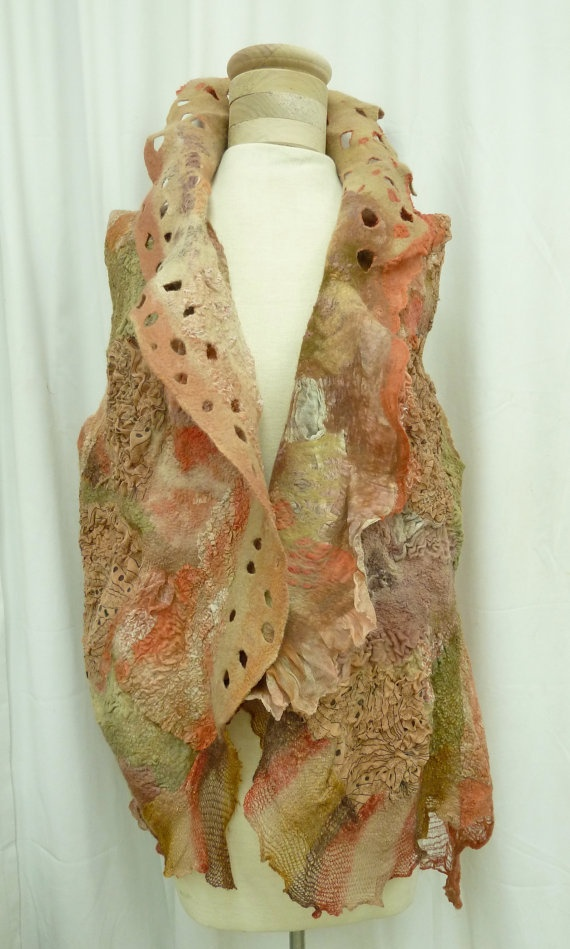 Sherbet/Tan/Mushroom High Texture Nuno Vest by Nunofelted on Etsy.