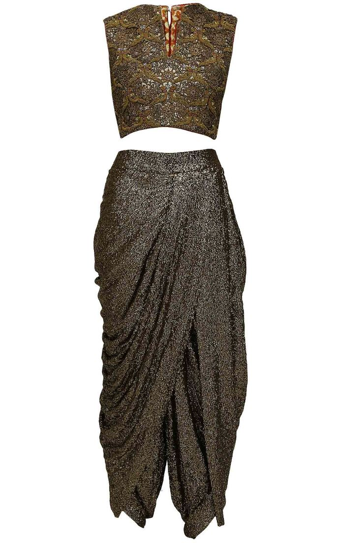 Gold sequins sheath dhoti pants with bird embroidered bustier and black embellished cape. available only at Pernia's Pop Up Shop.