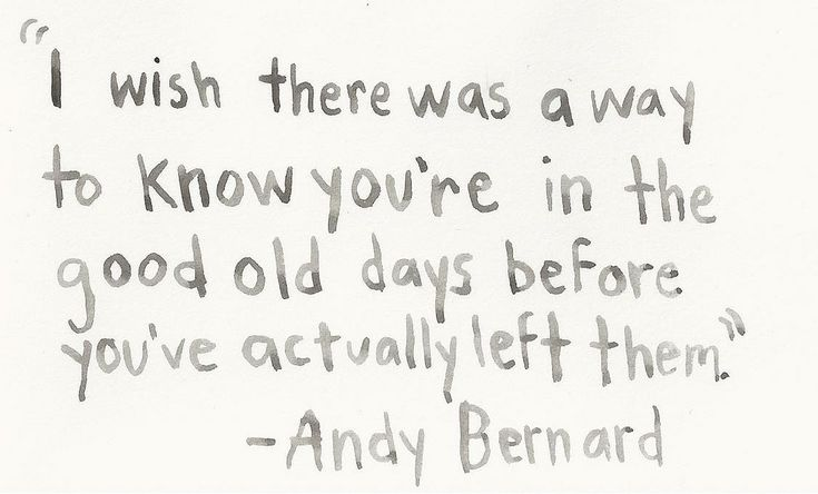 """I wish there was a way to know you're in the good old days before you've actually left them."" - Andy Bernard"