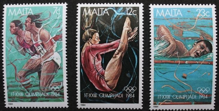 Olympic games in Los Angeles stamps, 1984, Malta, SG ref: 742-744, 3 stamps, MNH