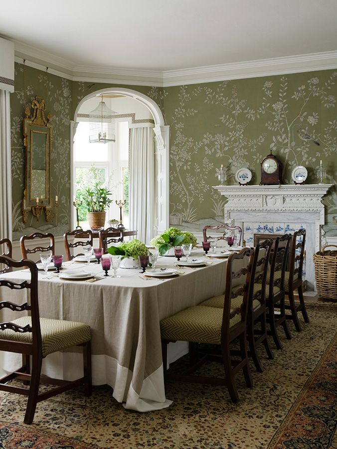 Suffolk Country House Interior Design from Todhunter Earle. Dining room, olive green walls, floral wallpapers.