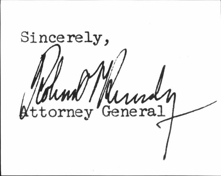 Robert Kennedy Autograph  64th United States Attorney General     (November 20, 1925 – June 6, 1968)  ❋ http://en.wikipedia.org/wiki/Robert_F._Kennedy