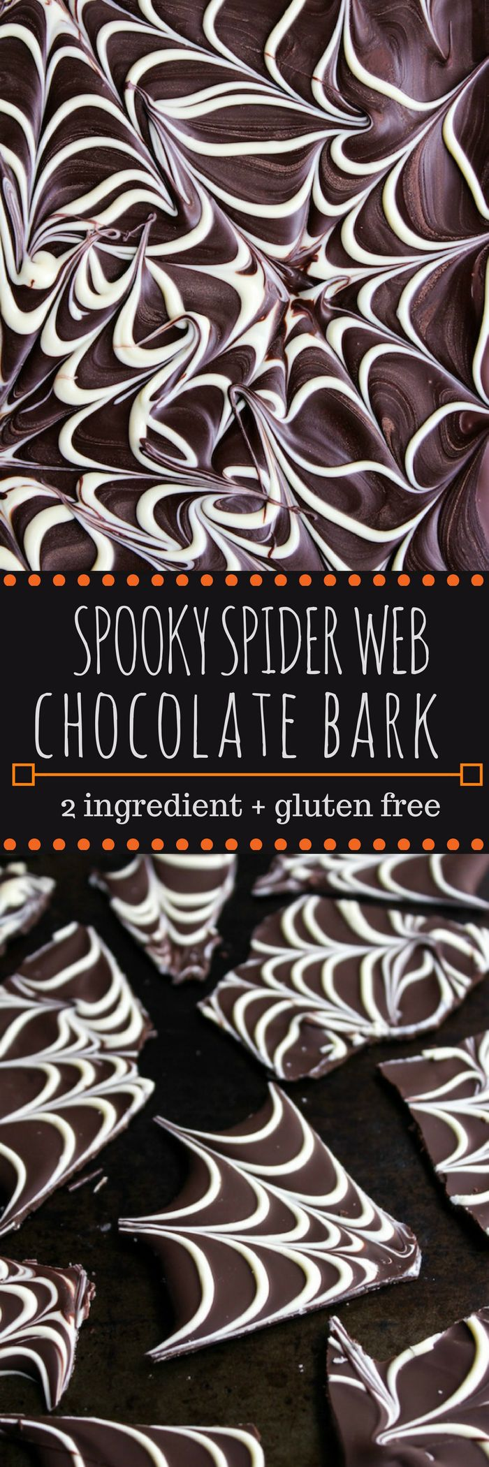 Two-ingredient spider web chocolate bark - a fast an easy Halloween treat! A dark chocolate base topped with white chocolate spider web decorations