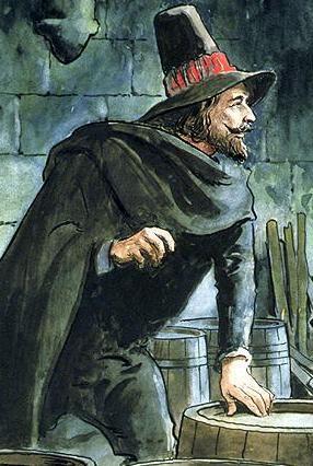 Guy Fawkes, classic villain of English history.
