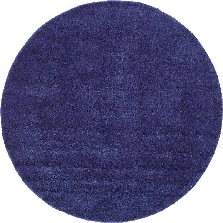 Unique Solo Solid Round Shag Rug (8' x 8') (Navy), Blue, Size 8' x 8'