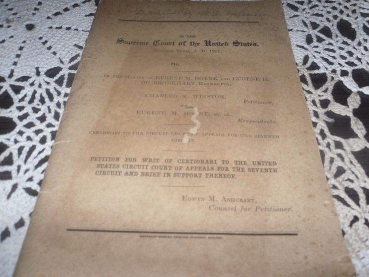 ANTIQUE SCARCE SUPREME COURT DOCUMENT BOOK 1921 WINSTON VS. HOYNE NEW YORK