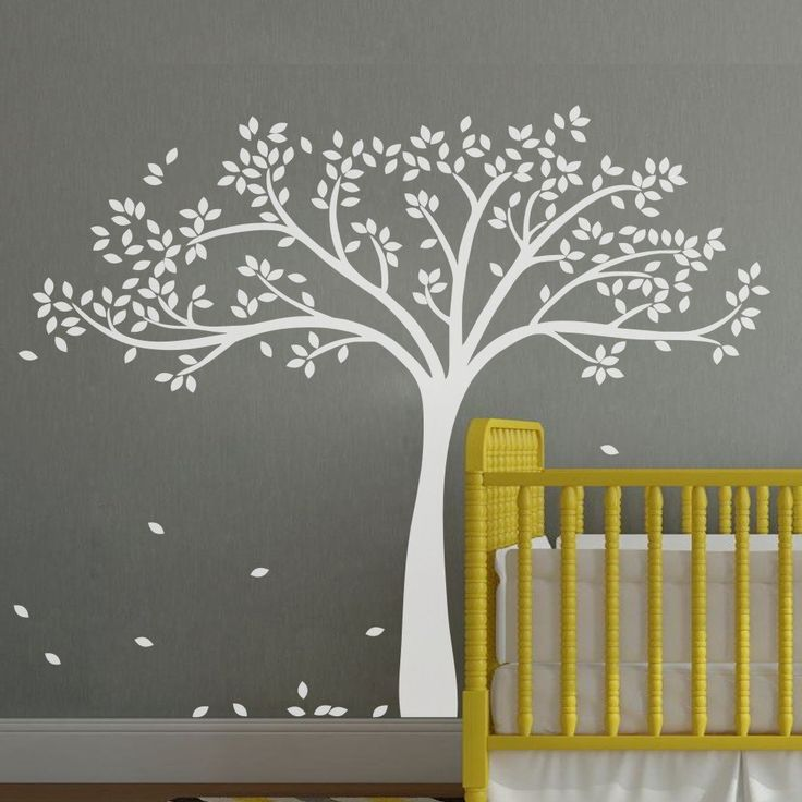 Monochromatic Fall Tree Extended Wall Decal Tree Wall Sticker Vinyl Tree Decal Nursery Wall Art Decoration White: Amazon.co.uk: Kitchen & Home