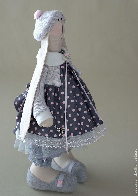Купить Зайка Polly - серый, бледно-розовый, розово-серый, серо-розовый, текстильная игрушка