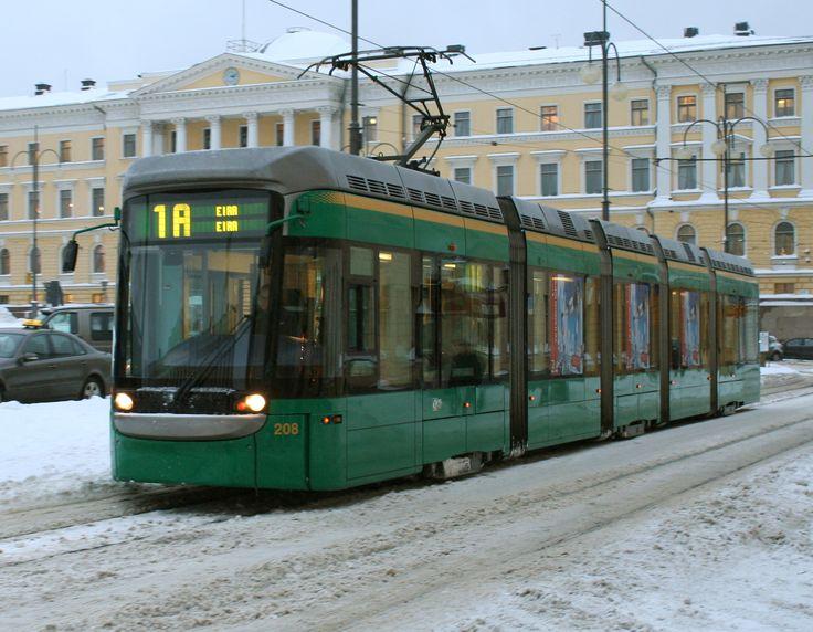 Tram in Senat Square, Helsinki