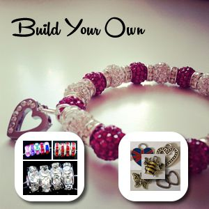 The build your own bracelet allows you to build a bracelet to your exact requirements selecting from bead colours, charms and other sparkles.