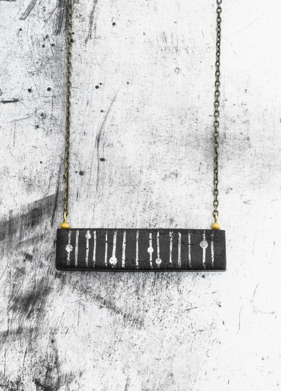 Gift for her  Black and white necklace  minimal by AnankeJewelry