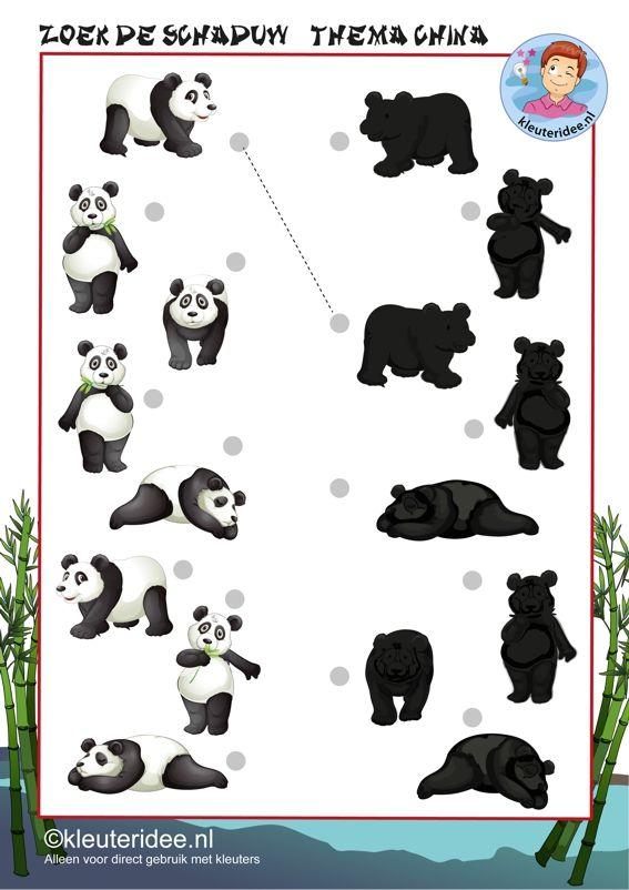 Zoek de schaduw van de panda, thema China, kleuteridee.