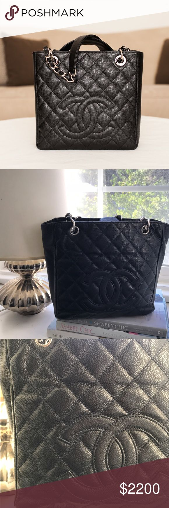 Chanel Caviar Petite Tote Selling this gorgeous Chanel Tote in beautiful shape!  Color: Black with Silver Hardware.  Comes in Chanel duster bag.  100% AUTHENTIC.  Purchased from Chanel Beverly Hills store. CHANEL Bags Totes