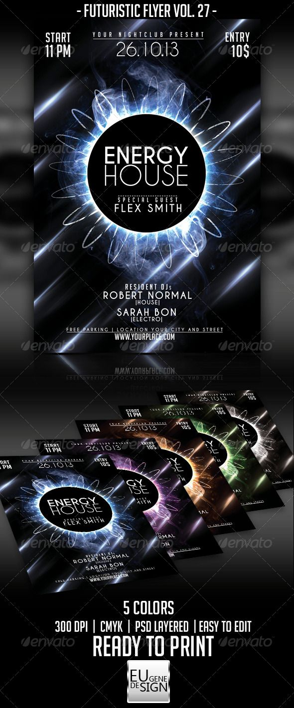 """Futuristic Flyer Vol. 27 #GraphicRiver Futuristic Flyer Vol. 27 The PSD file is setup at 1275px x 1875px (4.25×6.25"""") CMYK 300DPI – READY TO PRINT - Fonts : Caviar Dreams : .dafont /caviar-dreams.font 