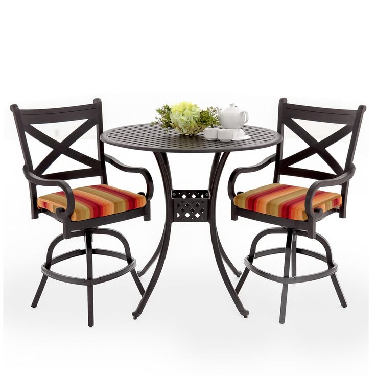 Avondale 3 Piece Aluminum Patio Bar Set With Swivel Bar Stools By Lakeview Outdoor Designs - Astoria Sunset available at Ultimate Patio....