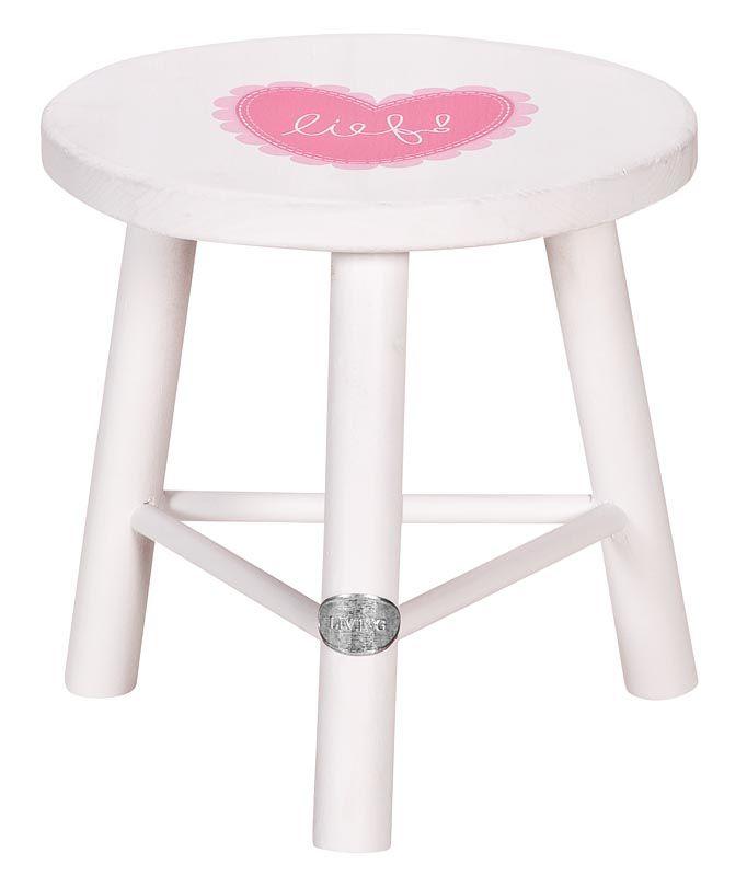 Kruk Karlijn van lief!: wit houten krukje voor de meisjeskamer of woonkamer #girls