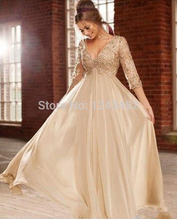 Más el tamaño de marfil perlas Crystal V cuello imperio de la gasa larga elegante maternidad vestidos noche para mujeres embarazadas E844