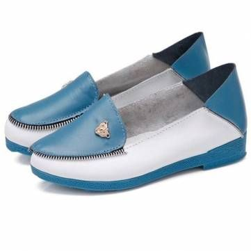 Slip-On Round Toe Loafers Women Casual Leather Shoes Soft-Sole Comfortable Flats