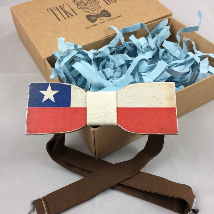 "Excited to share the latest addition to my #etsy shop: Wooden Bow Tie ""Straight"" shape with Chilean flag colours"
