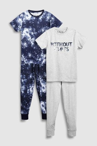 af27008c1d59 Buy Blue Grey Cosmic Slogan Pyjamas Two Pack (3-16yrs) from the Next ...