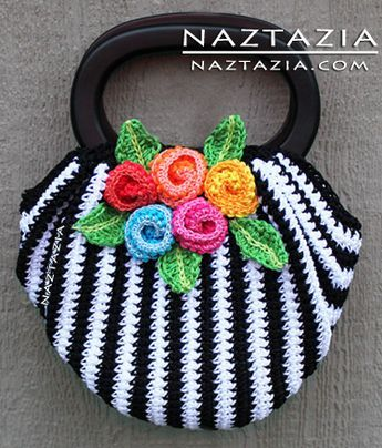 Free pattern crochet hand bag handbag purse black white