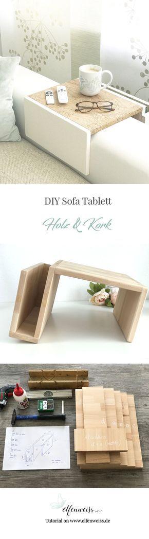 DIY Sofa Tablett Aus Holz Und Korkstoff   Wie Einfach Ihr Diese Couchablage  Selber Machen Könnt