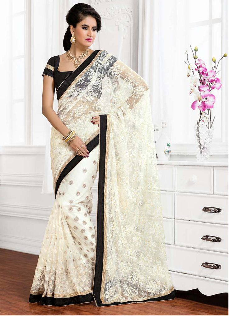 White Net Half N Half Saree