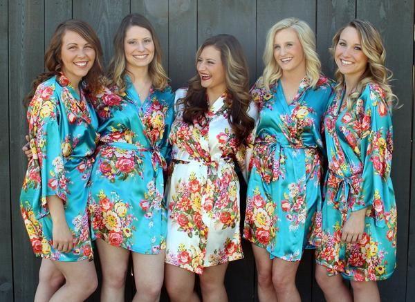 Floral Satin Robes! Gorgeous getting ready photos! Cheap Bridesmaid Robes - www.1ofakindwedding.com