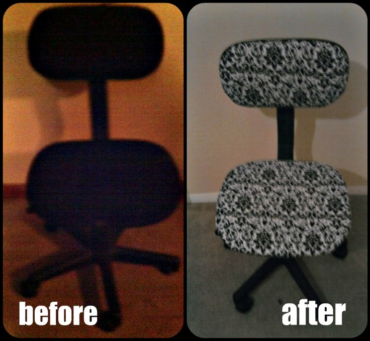 Cheap office chair+ 1 yard of fabric = Cute chair for the home office