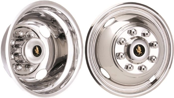 FORD TRANSIT WHEEL SIMULATOR DUALLIE HUB CAPS STAINLESS STEEL WHEEL COVER LINERS