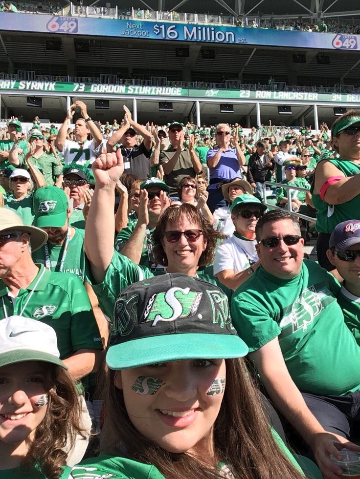 """Devin Heroux on Twitter: """"Here's a live look at my season ticket crew in Regina. They're just a little happy. @sskroughriders leading 24-3. #CFL https://t.co/fg0AA0p1jz"""""""