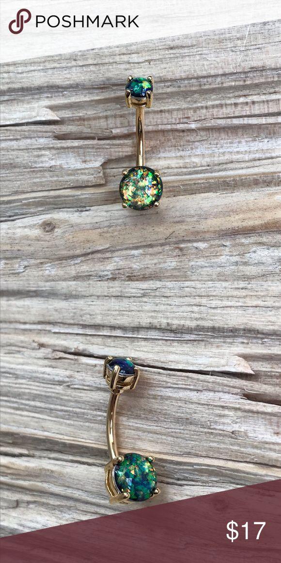 Grüner Opal Prong Gold Bauchnabel Ring Neu im Paket! Bauchnabelpiercing …   – My Posh Picks