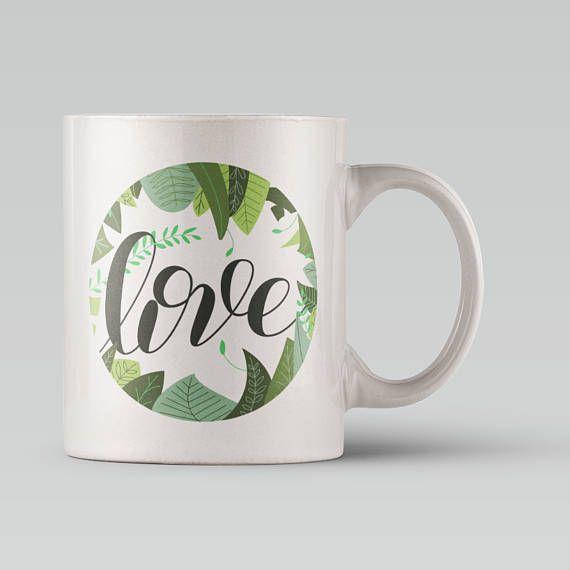 Love Mug  Leaves and Plants / Jungle Pattern