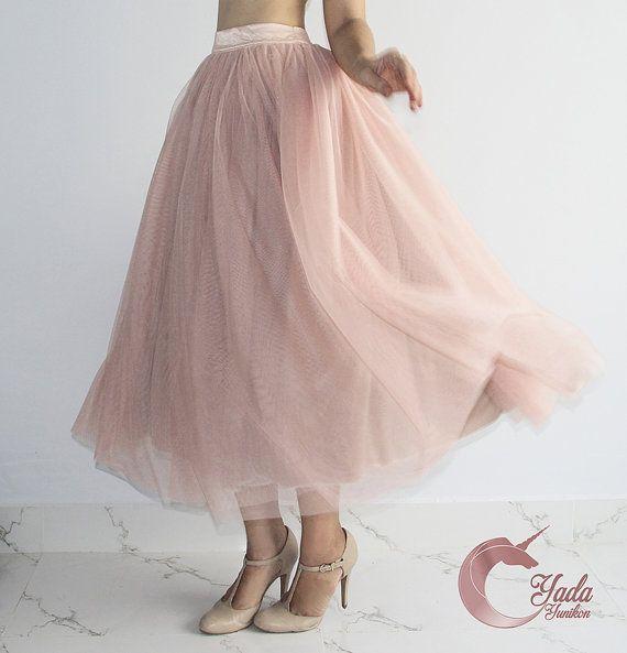 Roze Beige Tulle rok zacht Tulle rok volwassen Tutu
