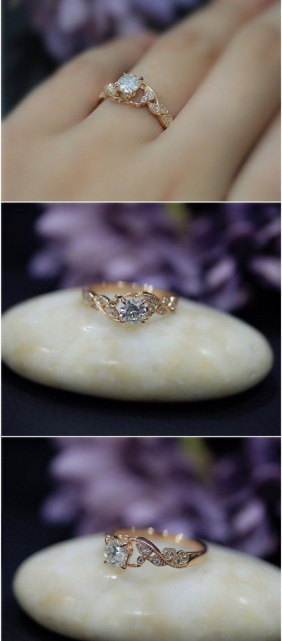 Vintage 5mm Round Brilliant Moissanite Wedding Ring Solid 14K Rose Gold Diamonds Wedding Ring Engagement Ring