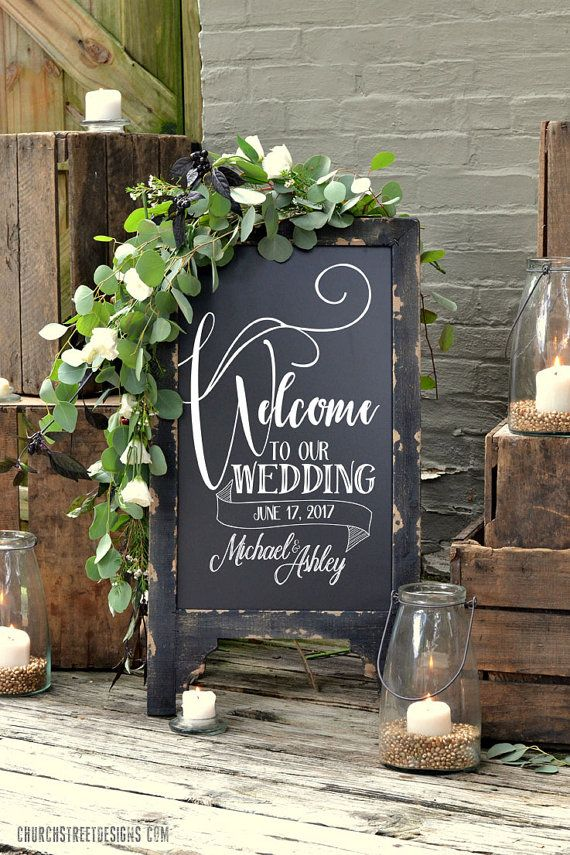 Wedding Chalkboard with Permanent Message, Add your names and date for FREE - Double Sided Chalkboard, Chalkboard Easel, Sandwich Chalkboard, Welcome To Our Wedding Sign by Church Street Designs