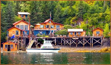 Relax at the Quiet Place Lodge in Halibut Cove, near Homer, Alaska, waterfront cabins, art galleries, photography, hiking, sea kayaking, rowboats, fishing, fine dining