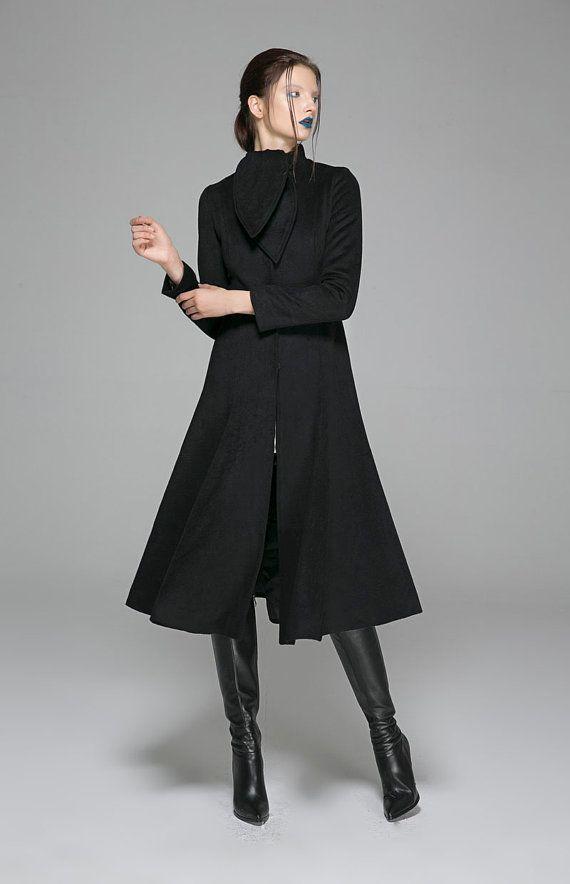 abito cappotto, cappotto francese, Womens cappotto, cappotto di lana, cappotto trench, lunga giacca, cappotto, cappotto di inverno, cappotto nero, giacca lunga, donne abbigliamento 1371
