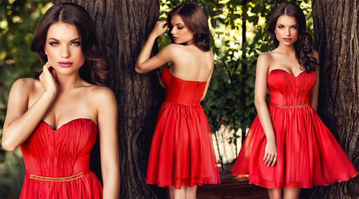 Short red elegant dress made from silk veil, with precious application at the waist.